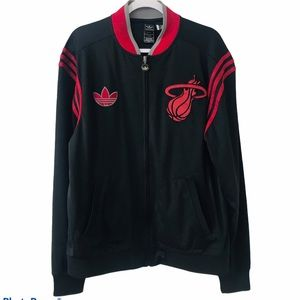 Adidas Limited Edition Miami Heat Zip Up Red Black Jacket Trefoil Size Large